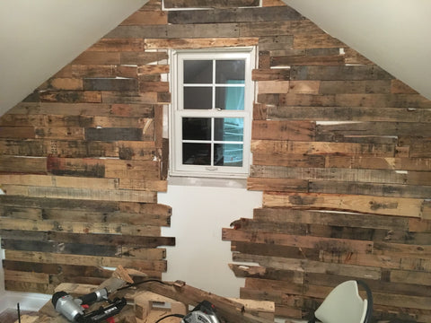 heres a look at the pallet wall pre stained pre closeted - Pallet Wall