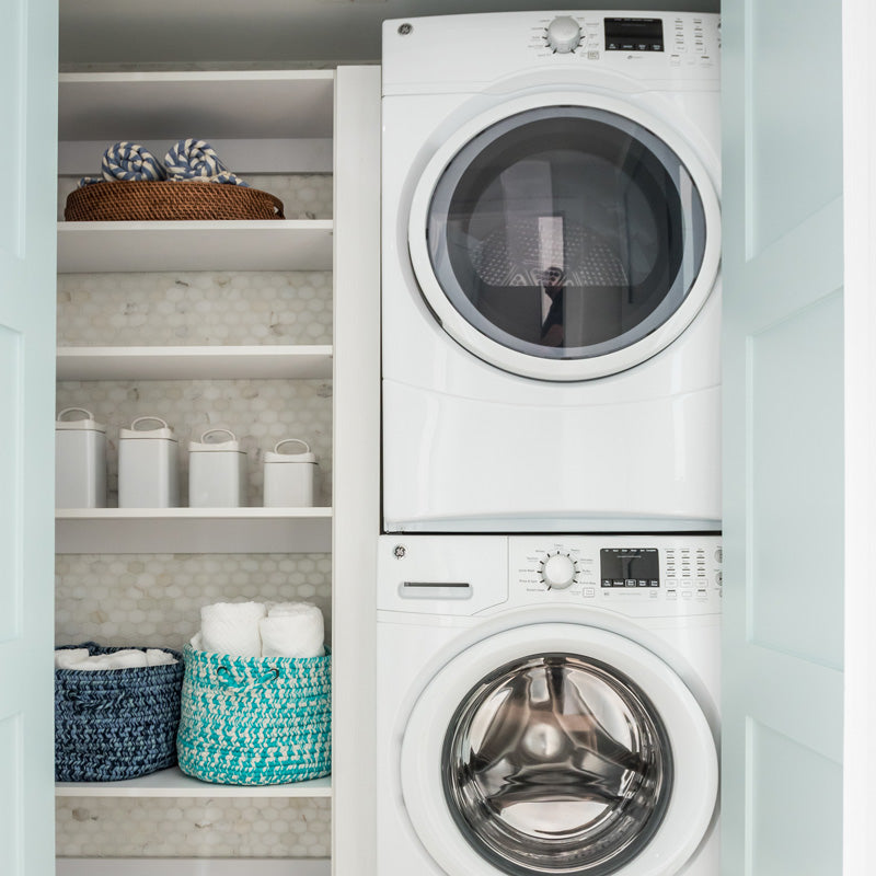 Custom closet in a laundry room
