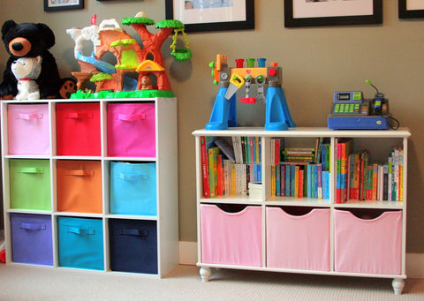 Organized toy room with cubbies and containers