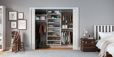 Organized Bedroom zone with a neat modular closet