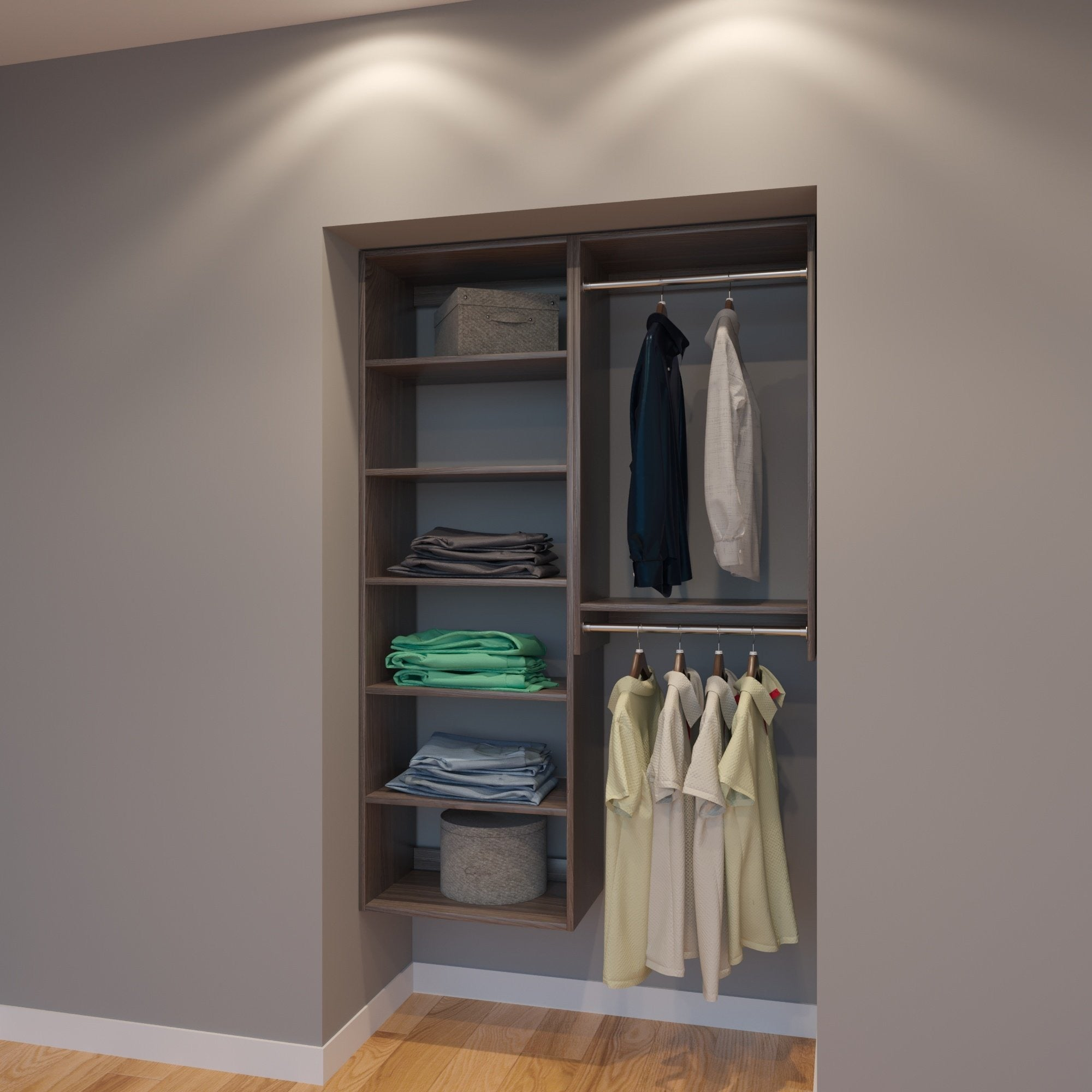 colors closet pipe homelife hanging system photo from organized organizer reveal organizing shelving hangingelves vertical of size full systems industrial concept new paint shelves rodelf for