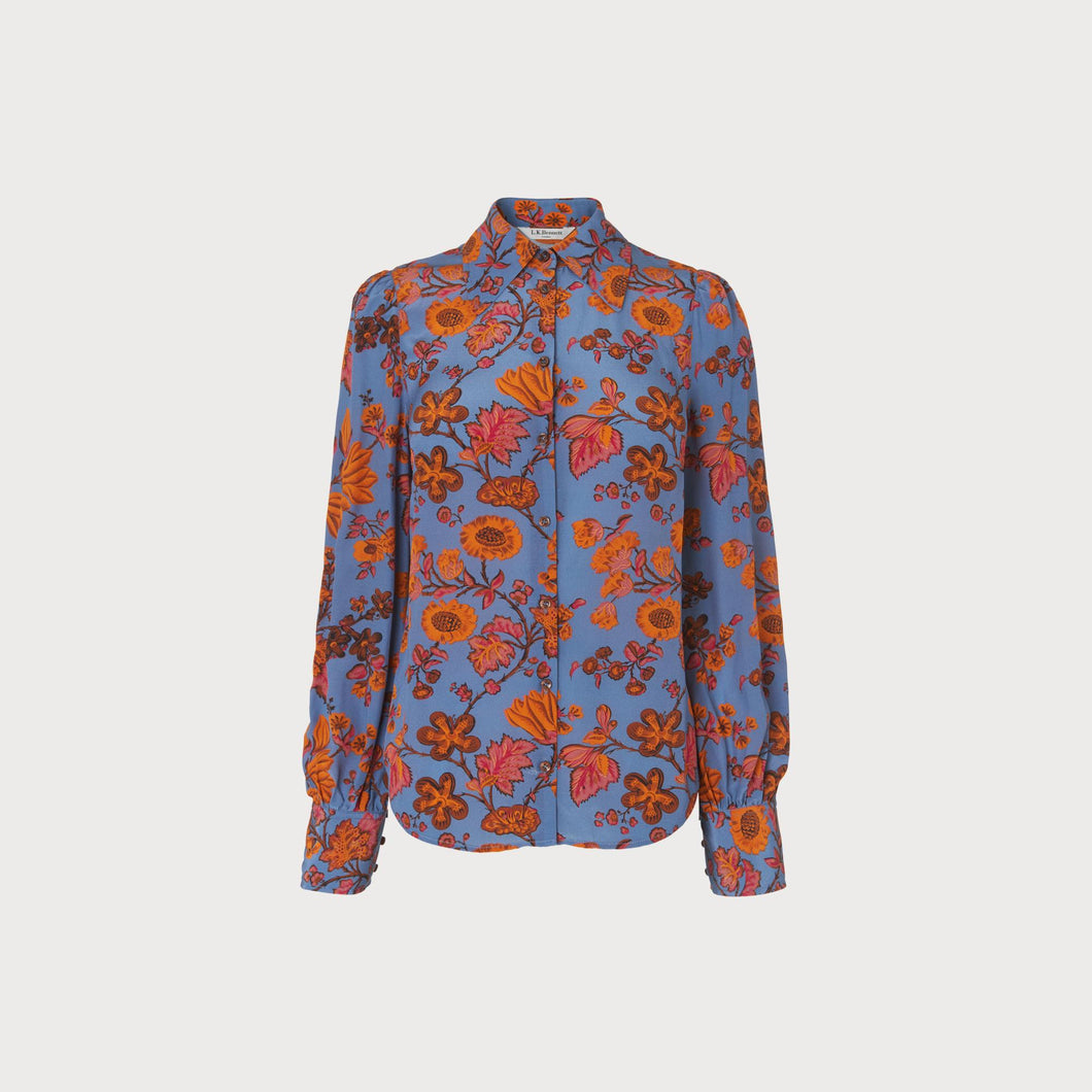 LK Bennett Blue Silk Blouse