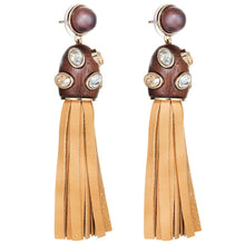 Fiona Kotur Wood Crystalized Tassel Earrings-Neutral Gold