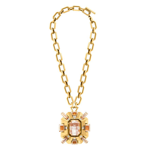 Lanvin Cristaux Deco Large Pendant Necklace-Gold Plating