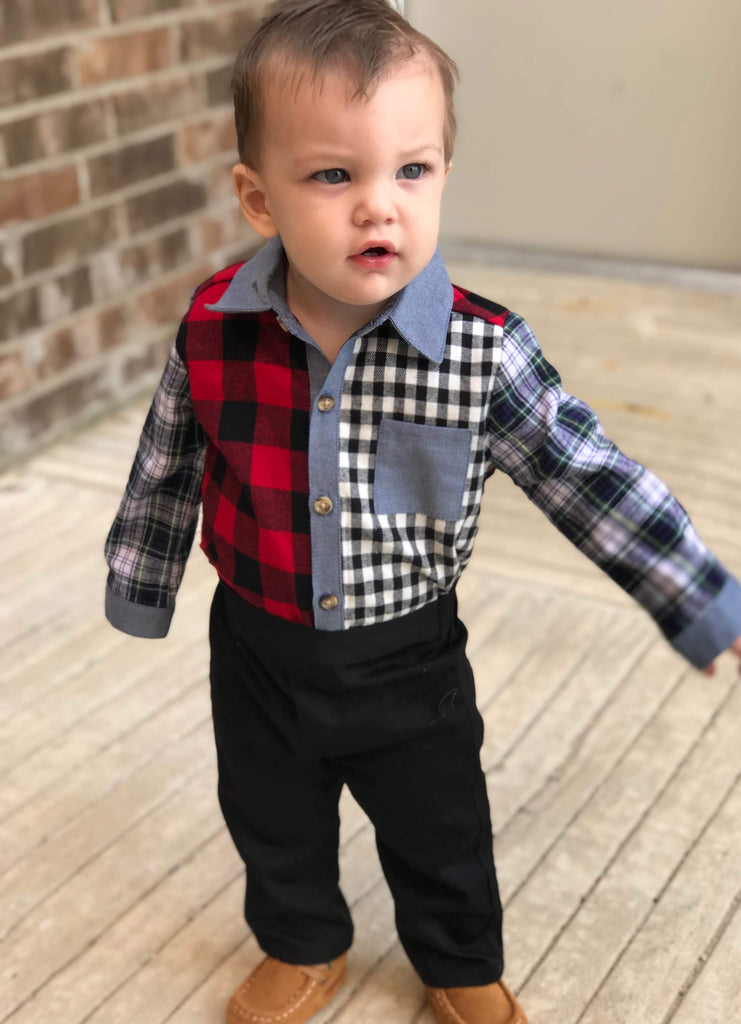 Boys Multi Plaid Two Piece Set