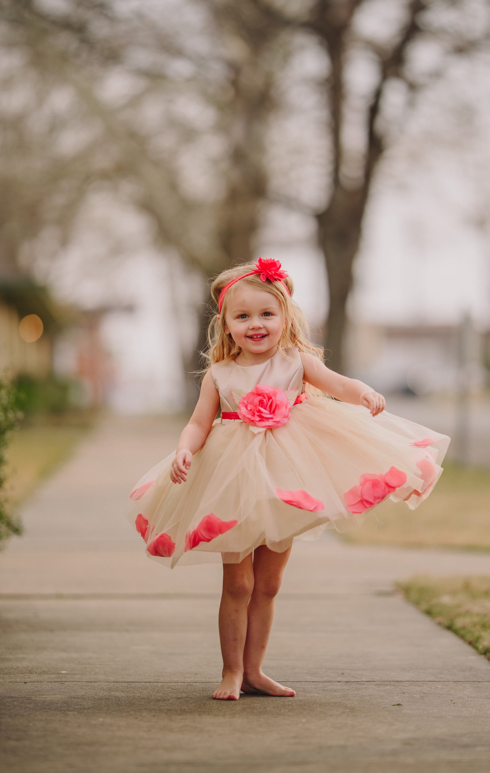 Peach Petal Girls Dress