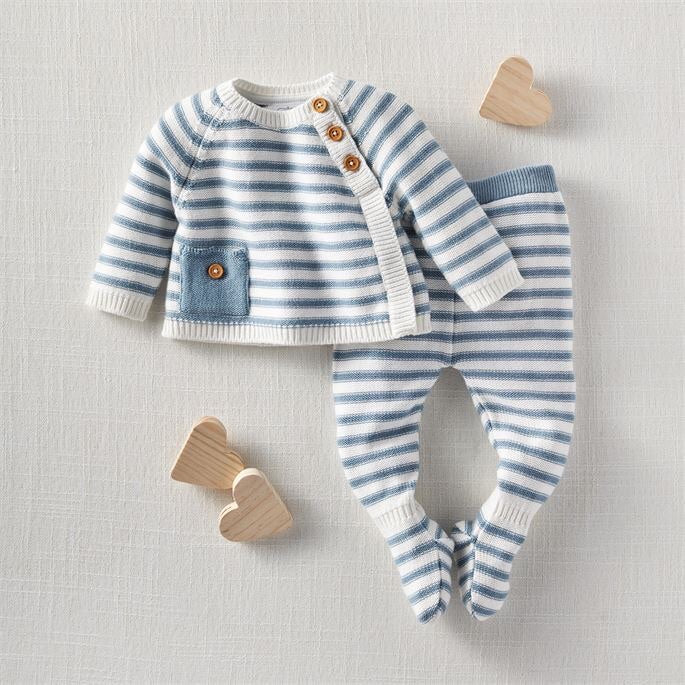 Mud Pie Knit Blue Stripe 2pc Set
