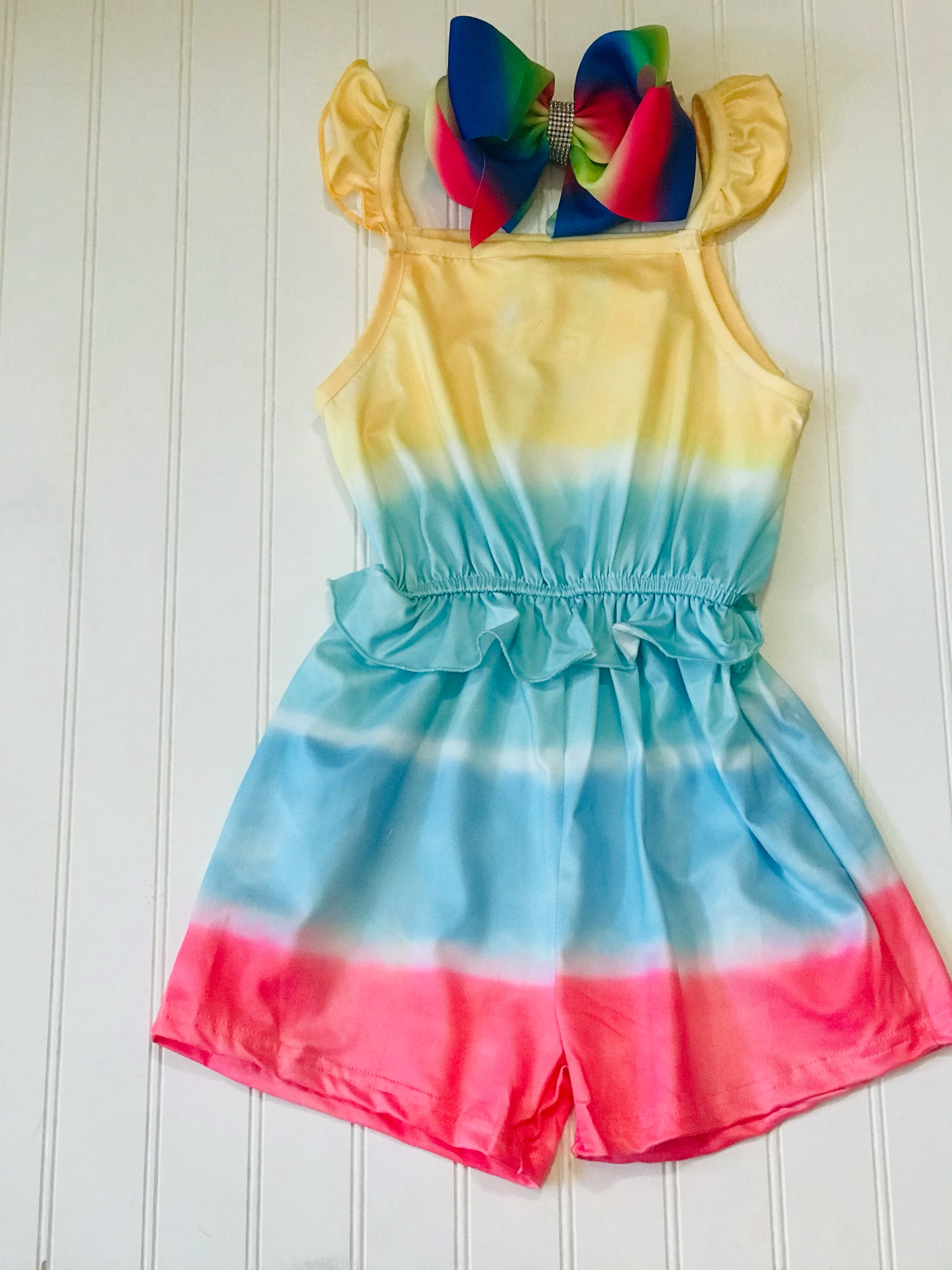 Rainbow Striped Child's Romper