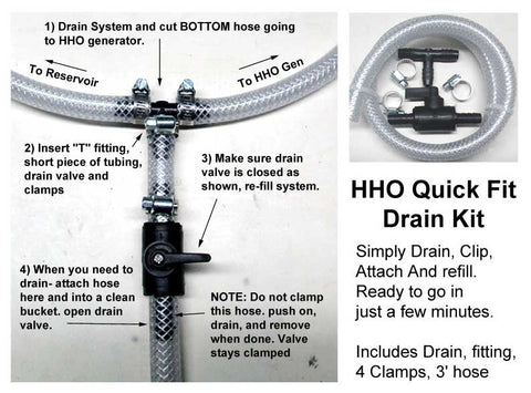Quick Fit Drain Kit for HHO systems