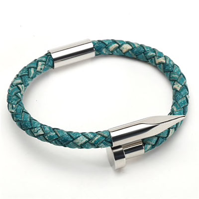 Rustic Leather Nail Bracelet