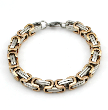 Two-Tone Mens Stainless Bracelet