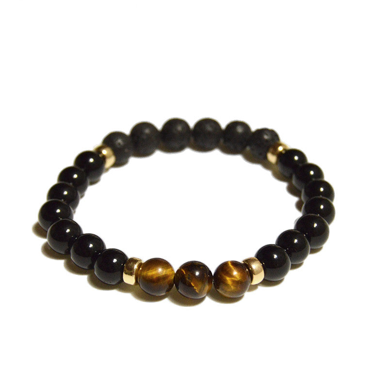 3 Series - Tiger Eye - with 14K gold