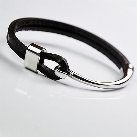 Black Leather Bracelet with Stainless Steel Hook