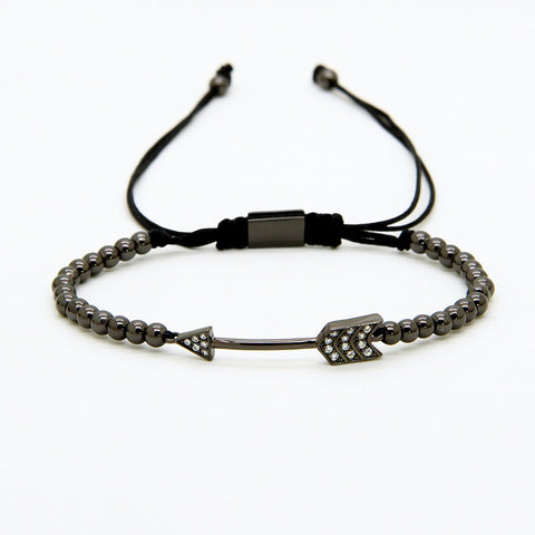 Arrow Macrame Gun Metal Bracelet