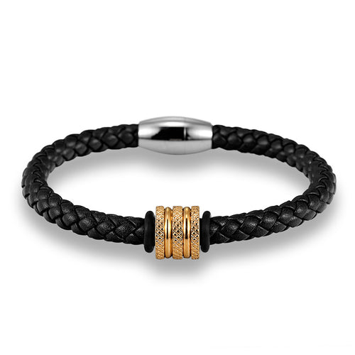 Black Leather with Gold Tone Spacer