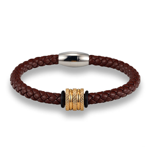 Brown Leather with Gold Tone Spacer
