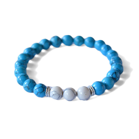 Turquoise beads, beads bracelet for men, beads bracelet for women, howlite beads, Jewel Paris