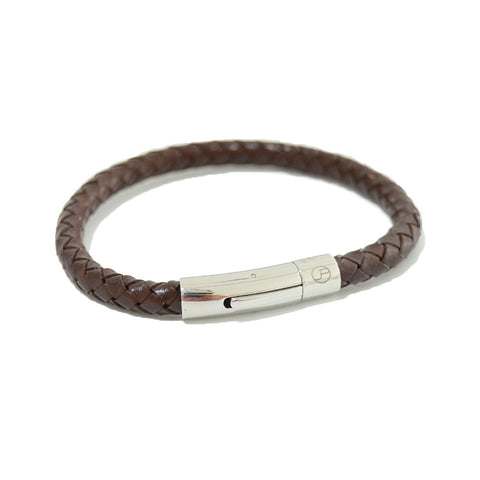 Brown Leather bracelet with Stainless Steel Locker