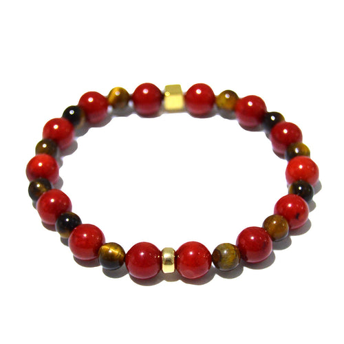 Tiger Eye and Red Coral with 14K Gold
