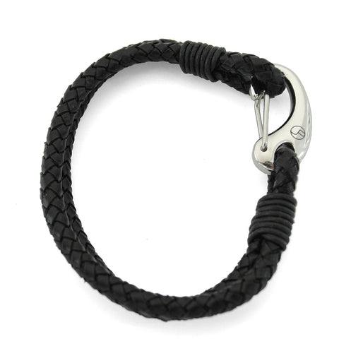 Black Leather & Stainless Steel Hook