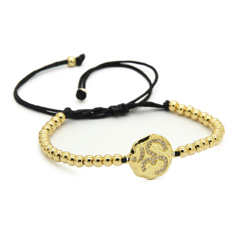 OM - Hammered Gold Macrame