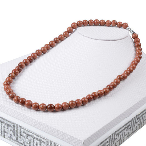 Beaded Sandstone Semi-Precious Stone Necklace
