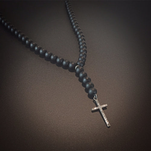 Onyx and Cross pendant with Diamonds