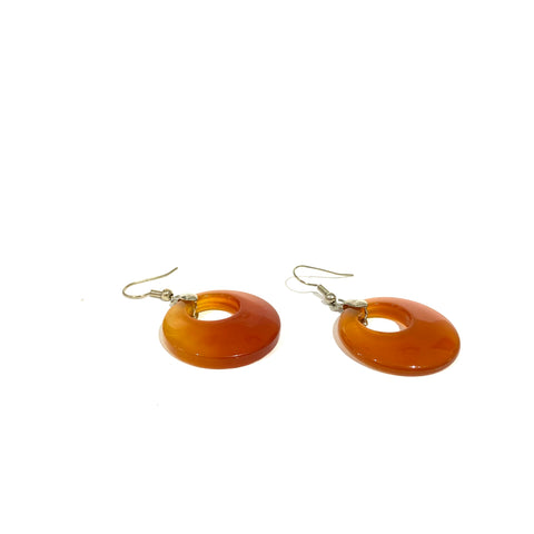 Carnelian Round Drop Earrings