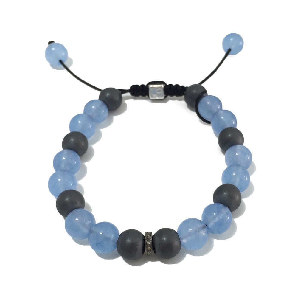 Bow Tie - Blue Jade & Hematites with Diamonds