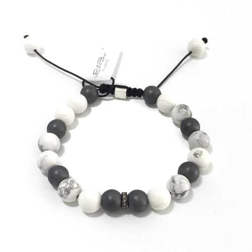 Bow Tie - Howlite & Hematites with Diamonds