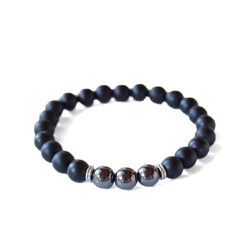 Onyx bracelet, hematite beads, matte black onyx, beads bracelet, healing power beads, healing stones, Jewel Paris