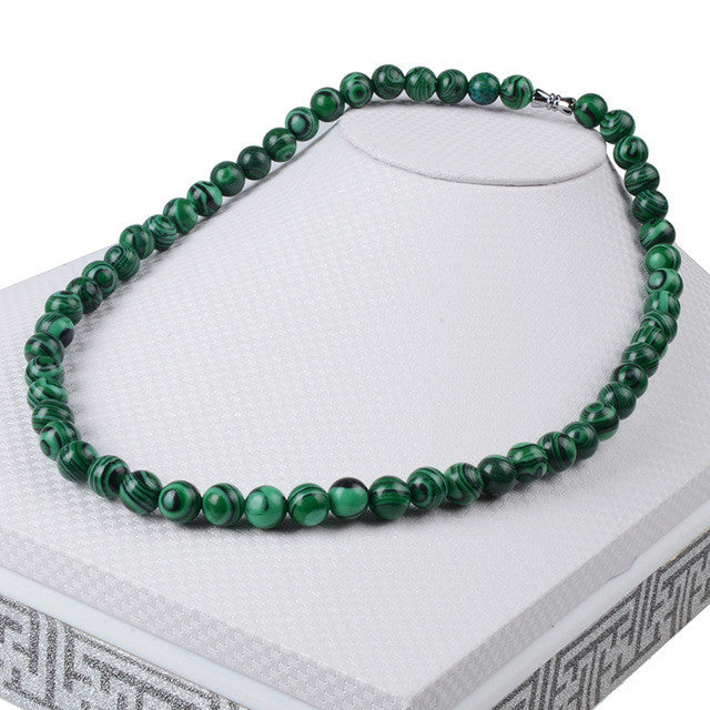Beaded Malachite Semi-Precious Stone Necklace