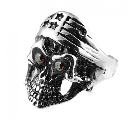 Stainless Steel Skull Ring with Stars Crown and Red Eyes