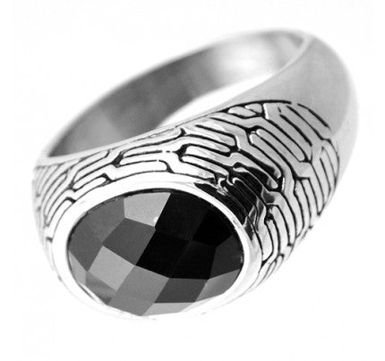Retro Inspired Stainless Steel Mens Ring with Onyx