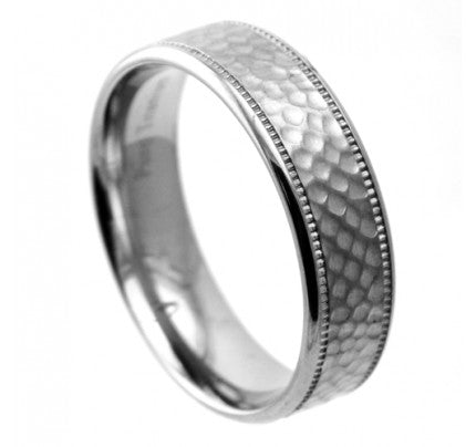 Grade 23 Titanium Ring with Hammered Finish
