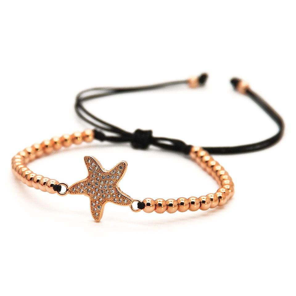 Star Fish Macrame Rose Bracelet