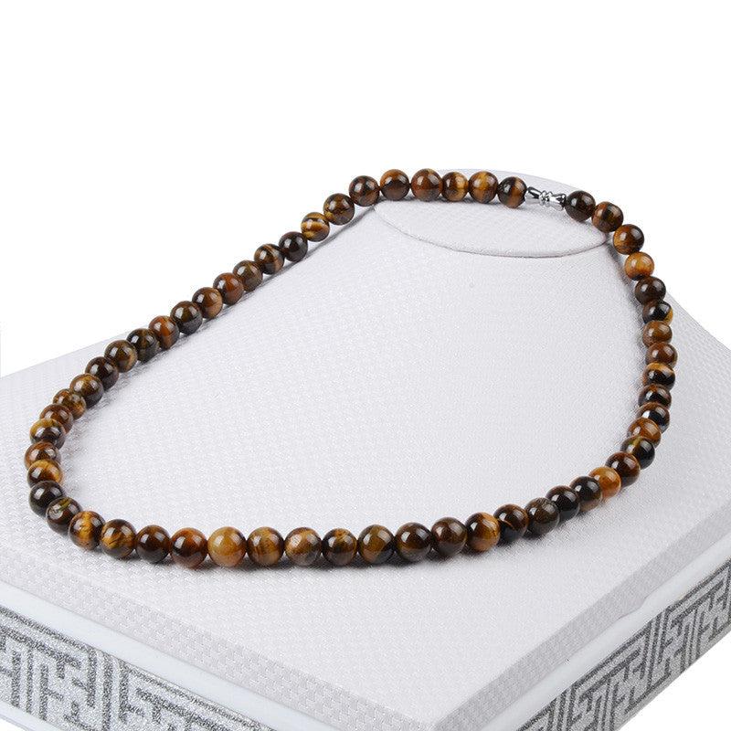 Beaded Tigers Eye Semi-Precious Stone Necklace