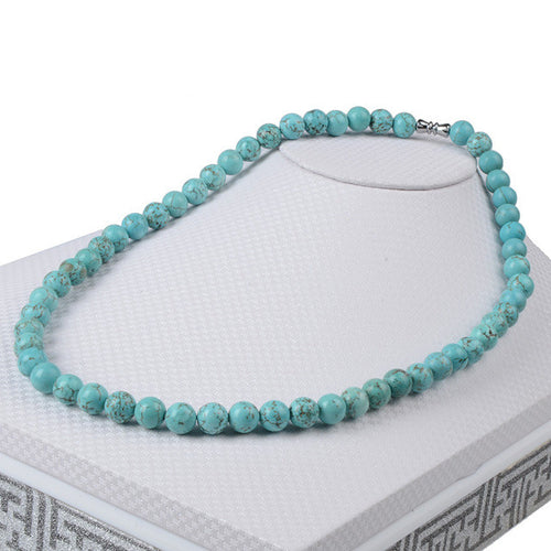 Beaded Turquoise Semi-Precious Stone Necklace