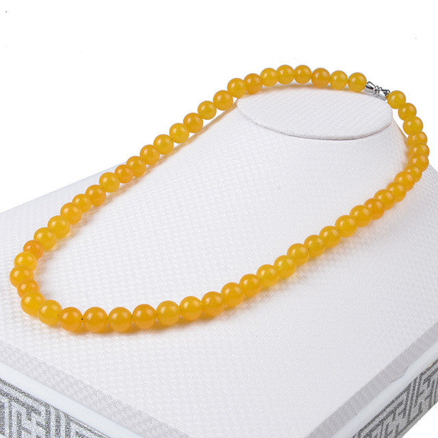 Beaded Yellow Jade Semi-Precious Stone Necklace