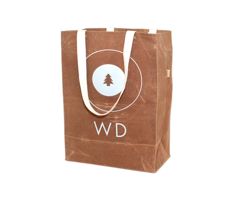 custom waxed canvas grocery tote