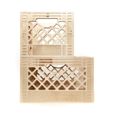 Wooden milk crate.  Great for home storage, DIY shelving, organization, vinyl record, & more.