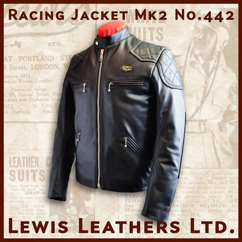 "Lewis Leathers Jacket Men ""Racing Jacket"" Black Cow (LL 442-Black)"