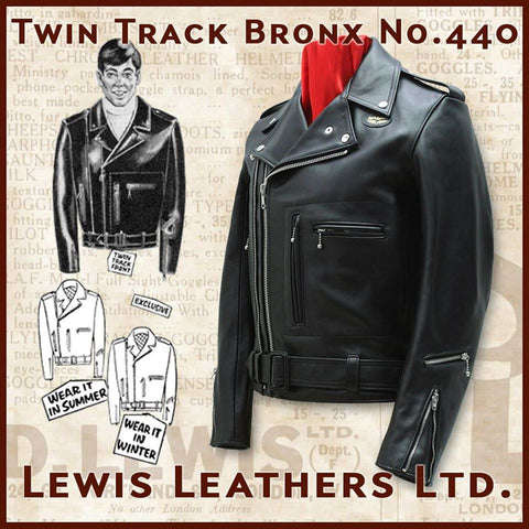 "Lewis Leathers Jacket Men ""Twin Track Bronx"" Black Cow (LL 440-Black)"