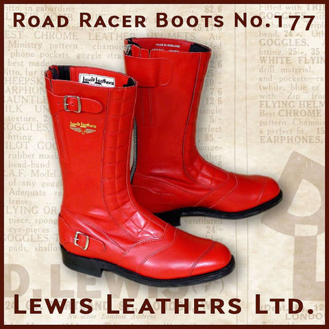 "Lewis Leathers Boots ""Road Racer"" Red (LL 177-Red)"