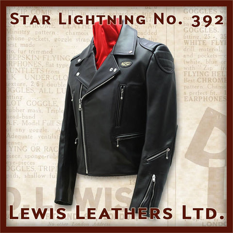 "Lewis Leathers Jacket Men ""Star Lightning"" Black Cow (LL 392-Black)"