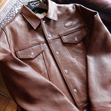 "Lewis Leathers Jacket Men ""Western Jacket"" Brown Cow (LL 988-Brown)"