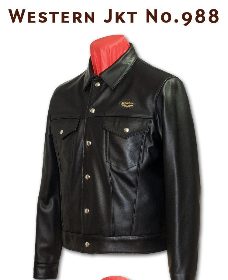 "Lewis Leathers Jacket Men ""Western Jacket"" Black Cow (LL 988-Black)"
