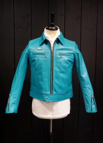 "Lewis Leathers Jacket Ladies ""Dominator Ladies"" Turquoise Cow (LL 551L-Turquoise)"