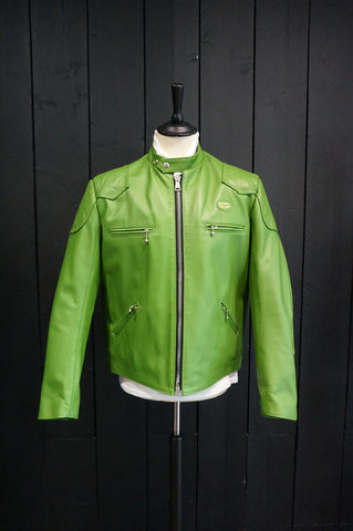 "Lewis Leathers Jacket Men ""Racing Jacket"" Apple Green Cow (LL 442-Apple-Green)"