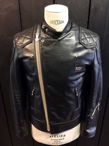 "Lewis Leathers Jacket Men ""Super Monza"" Black Horse Beige Zip (LL 445-Horse-Blk)"